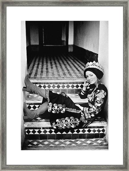 Talitha Getty Wearing A Berber Wedding Dress Framed Print by Maurice Hogenboom