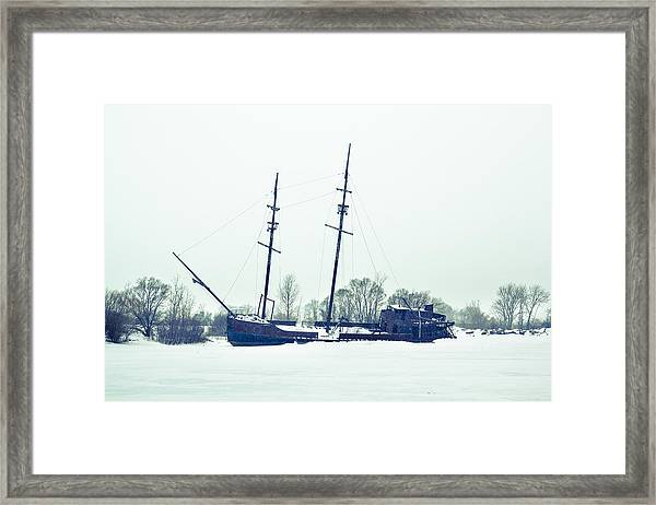 Tall Shipp At Jordan Marina Framed Print