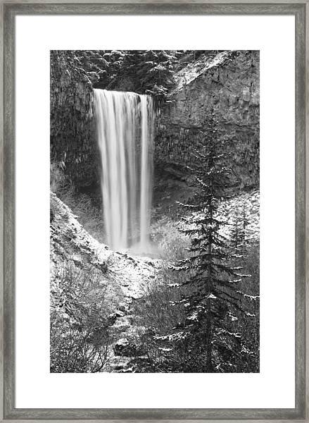 Tamanawas Falls In Winter Framed Print