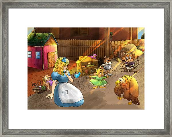 Tammy And Friends In The Backyard Framed Print