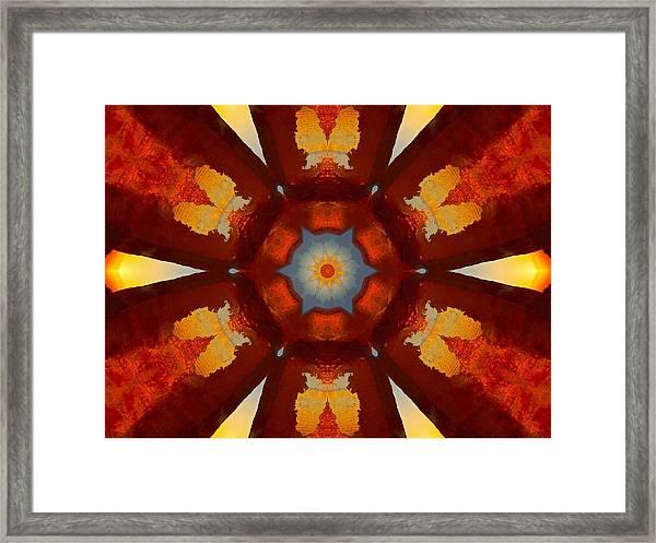 Tangerine Sunset Crystal Mandala Framed Print