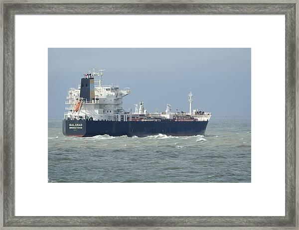 Tanker Heading At Sea Framed Print