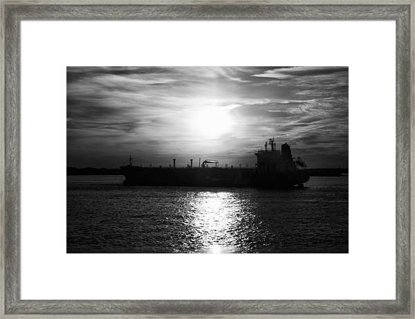 Tanker Twilight Framed Print