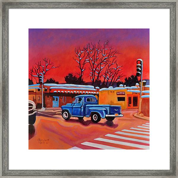 Taos Blue Truck At Dusk Framed Print