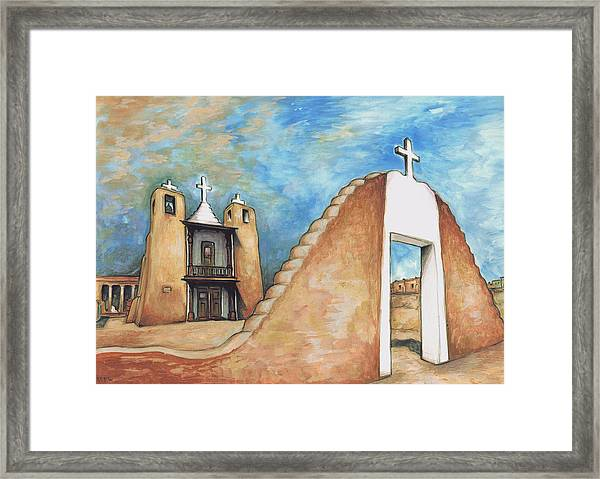 Taos Pueblo New Mexico - Watercolor Art Painting Framed Print
