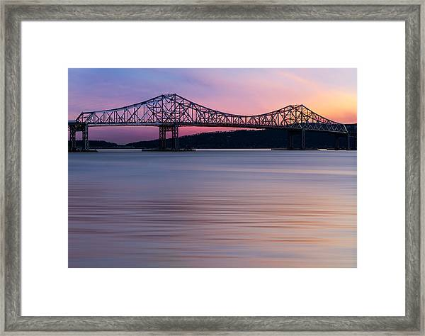 Framed Print featuring the photograph Tappan Zee Bridge Sunset by Susan Candelario