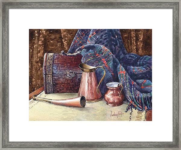 Tartan And Copper Framed Print
