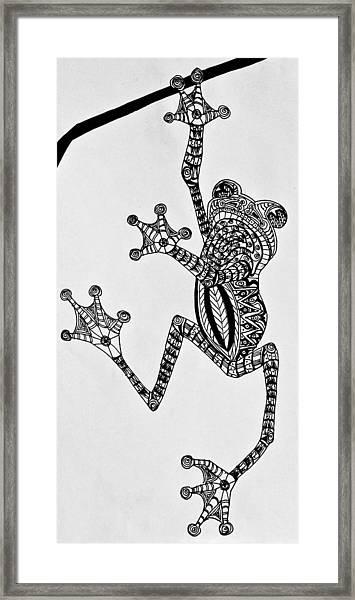 Tattooed Tree Frog - Zentangle Framed Print