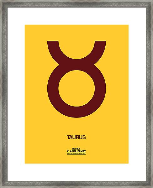 Taurus Zodiac Sign Brown Framed Print