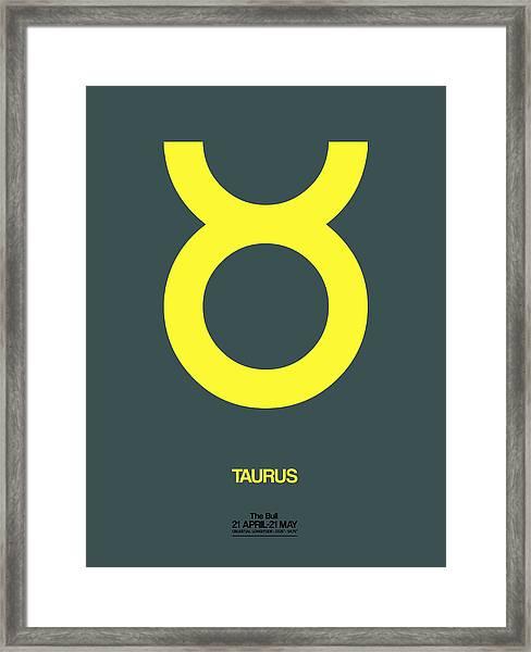 Taurus Zodiac Sign Yellow Framed Print