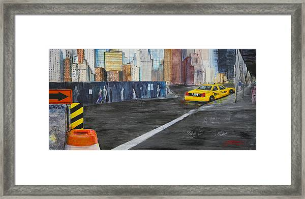 Taxi 9 Nyc Under Construction Framed Print