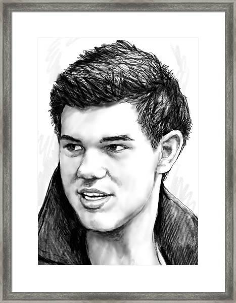 Taylor-lautner Art Drawing Sketch Portrait Framed Print