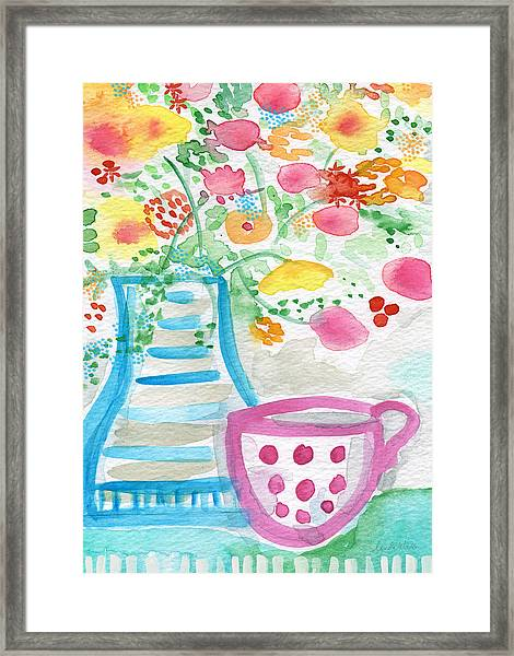 Tea And Fresh Flowers- Whimsical Floral Painting Framed Print