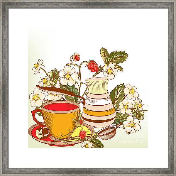 Tea Or Coffee Vector Background With Framed Print