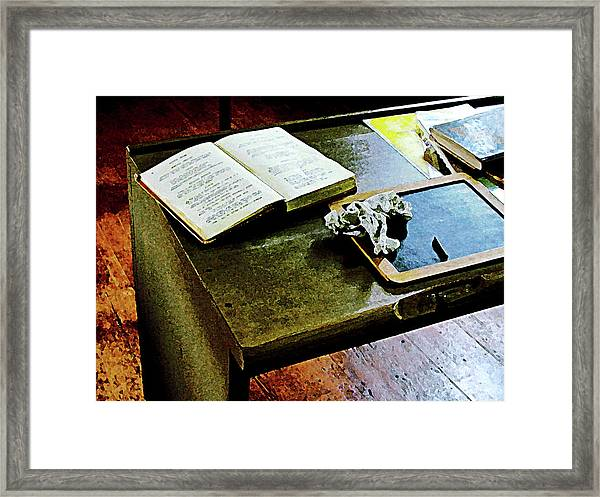 Teacher - Blackboard And Book Framed Print