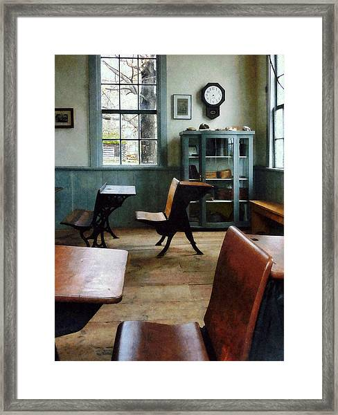 Teacher - One Room Schoolhouse With Clock Framed Print