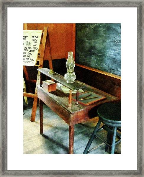 Teacher's Desk With Hurricane Lamp Framed Print