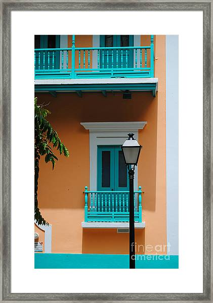 Teal With Pale Orange Framed Print