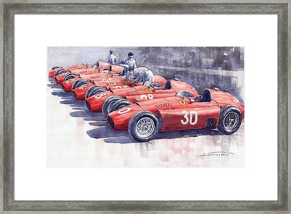 1956 Team Lancia Ferrari D50 Type C 1956 Italian Gp Framed Print