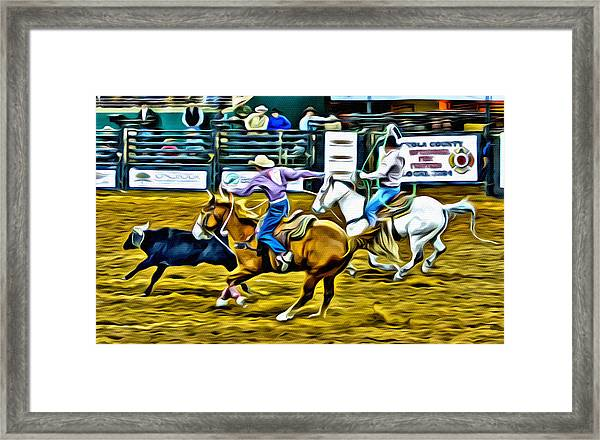 Team Ropers Framed Print