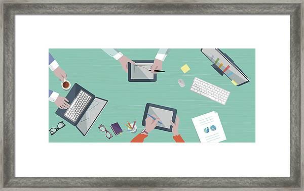 Teamwork Business Scene On Table In Flat Style Framed Print by Golero