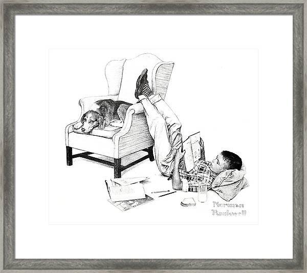 Teenager Studying Framed Print