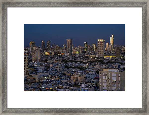 Tel Aviv At The Twilight Magic Hour Framed Print