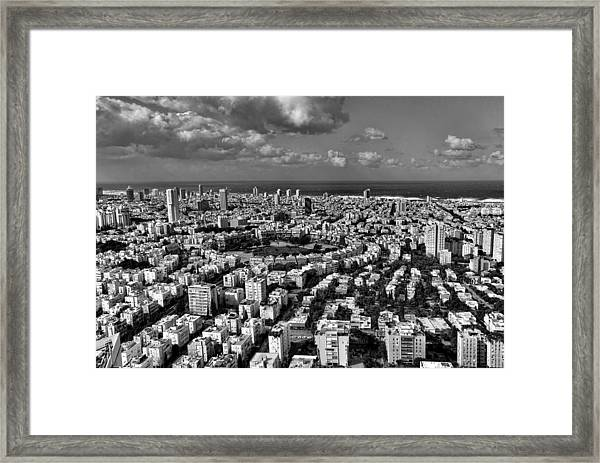Tel Aviv Center Black And White Framed Print