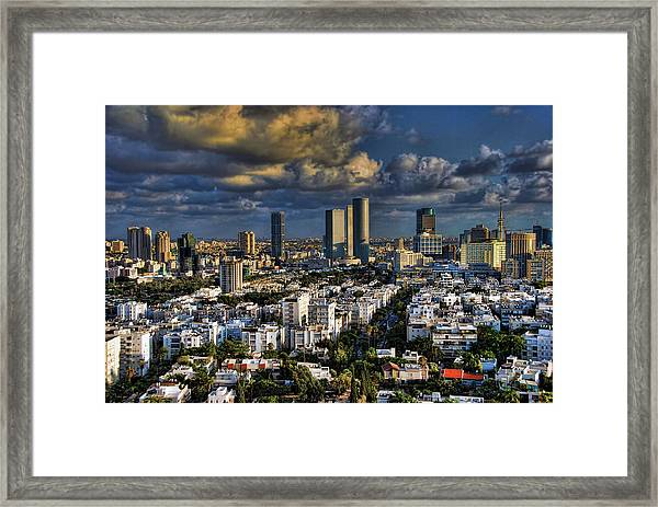 Tel Aviv Skyline Fascination Framed Print