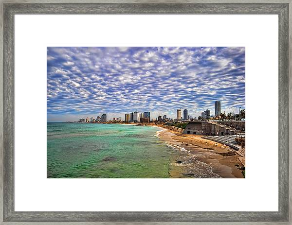 Tel Aviv Turquoise Sea At Springtime Framed Print