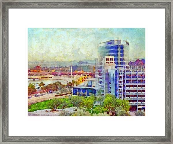 Tempe Arizona Skyline In The Early Morning Framed Print