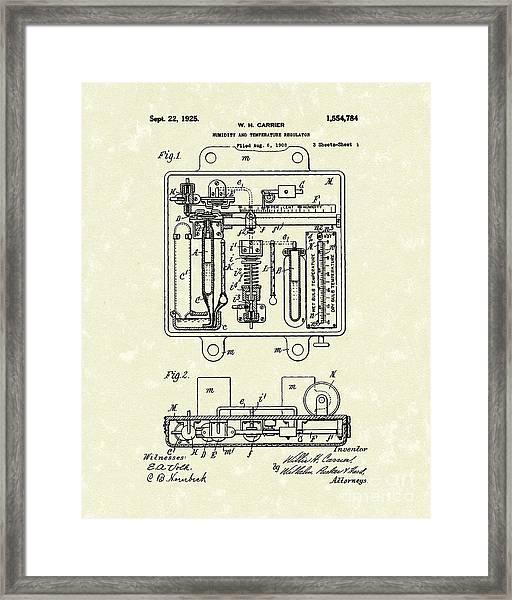 Temperature Regulator 1925 Patent Art Framed Print
