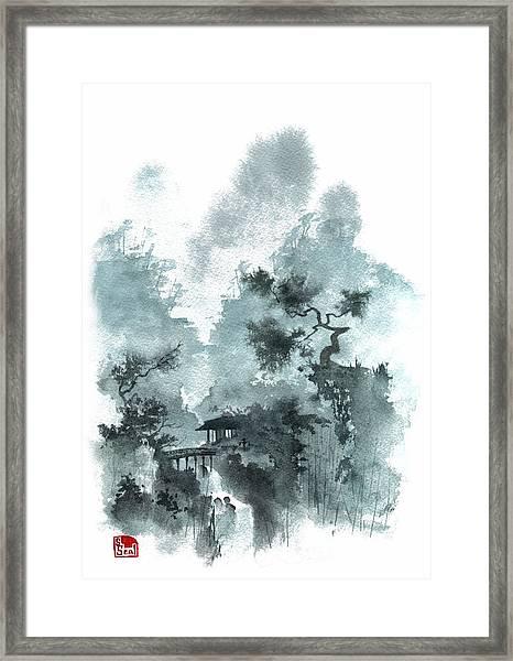 Temple Bridge Framed Print