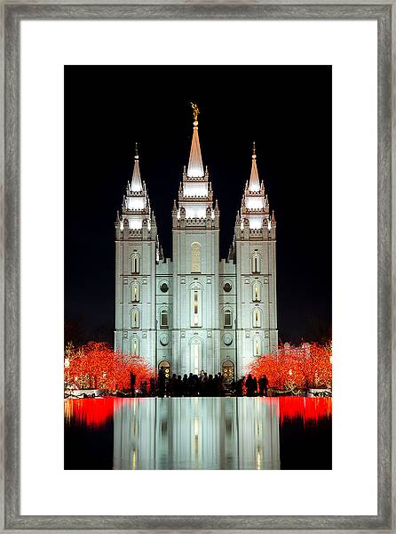 Framed Print featuring the photograph Temple Lights by Dustin  LeFevre