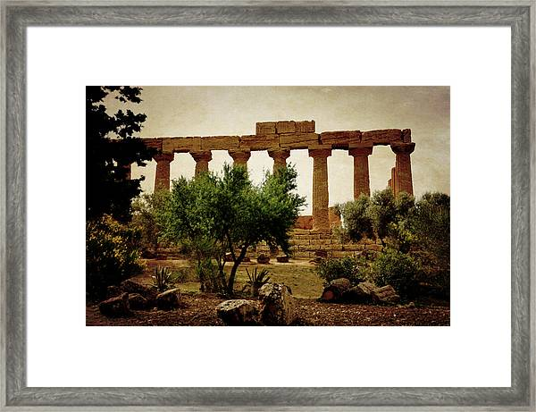Temple Of Juno Lacinia In Agrigento Framed Print