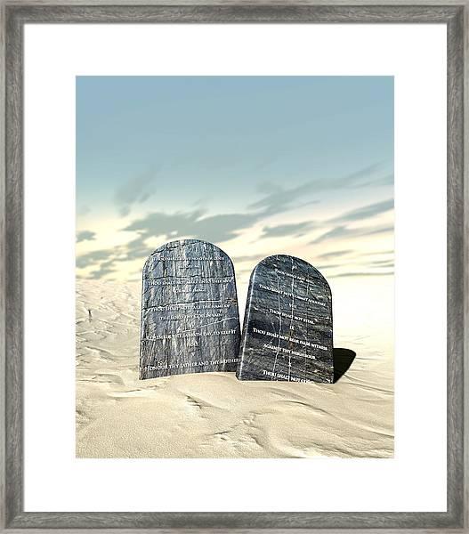 Ten Commandments Standing In The Desert Framed Print