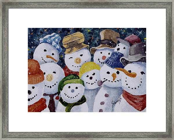 Ten Little Snowmen Framed Print