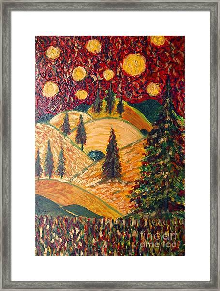 Ten Moons In Scarlet Sky Framed Print