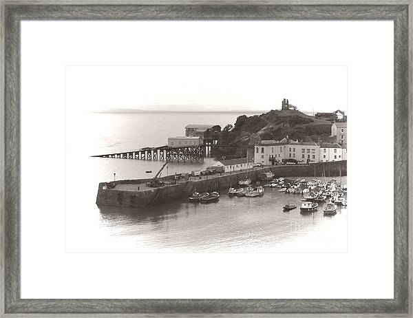 Tenby Harbour And Castle Hill Vignette Framed Print