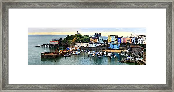 Tenby Harbour Panorama Framed Print