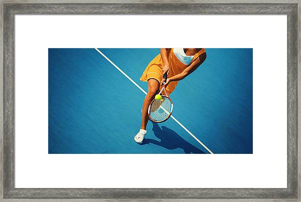 Tennis Game. Framed Print by Gilaxia