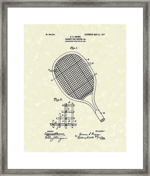 Tennis Racket 1907 Patent Art Framed Print