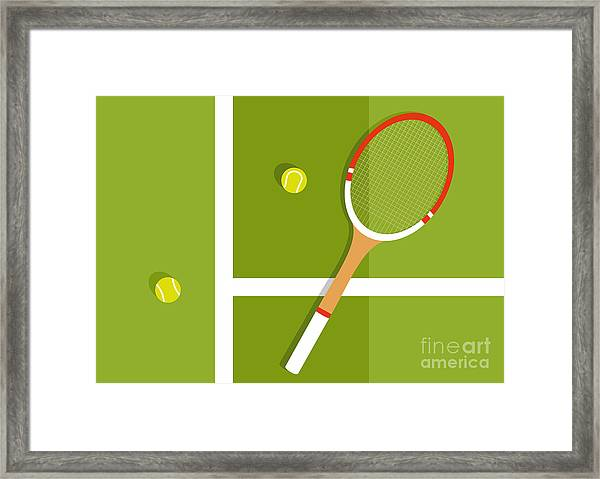 Tennis Racquet And Balls Are On The Framed Print