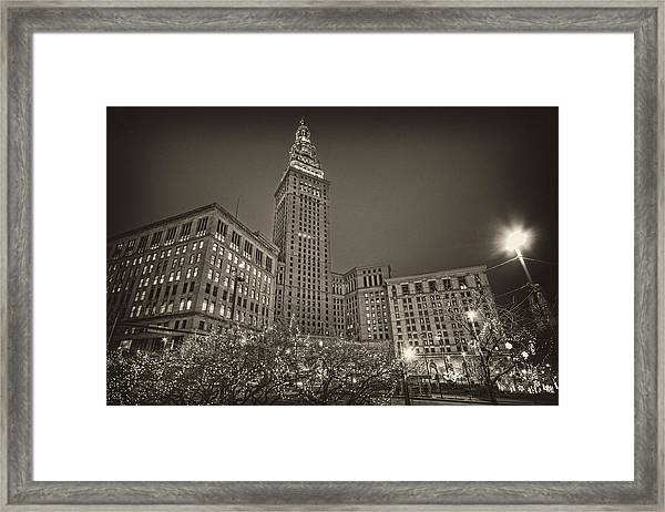 Terminal Tower At Night Framed Print