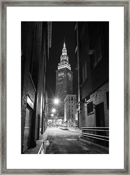 Terminal Tower From A Cleveland Alley Framed Print