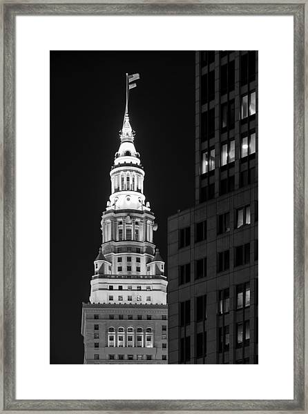 Terminal Tower In Black And White  Framed Print