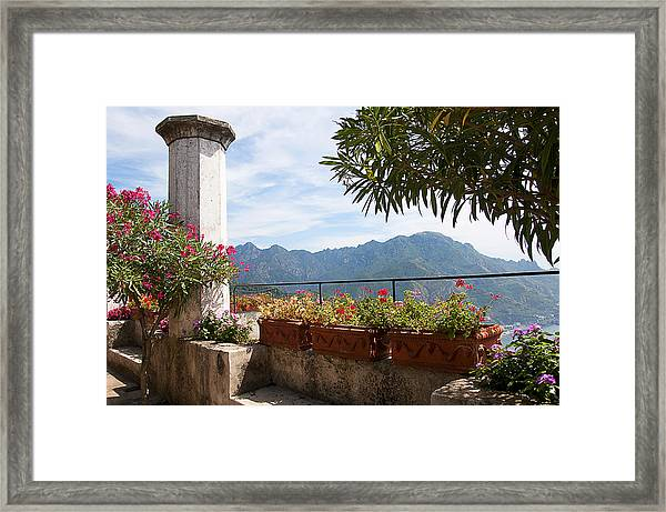Terrace In The Clouds Framed Print