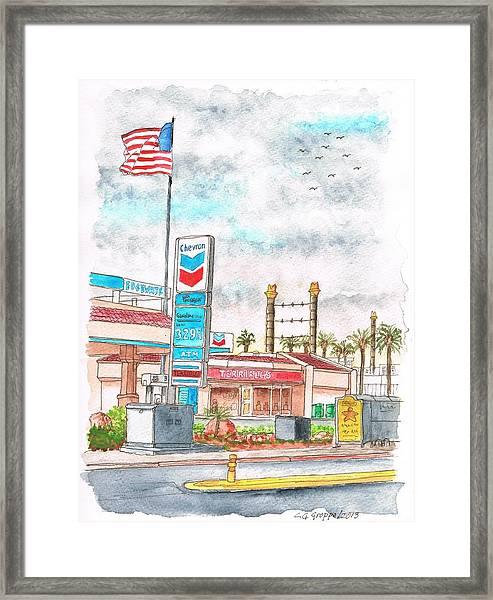 Terribles Chevron Gas Station, Laughlin, Nevada Framed Print