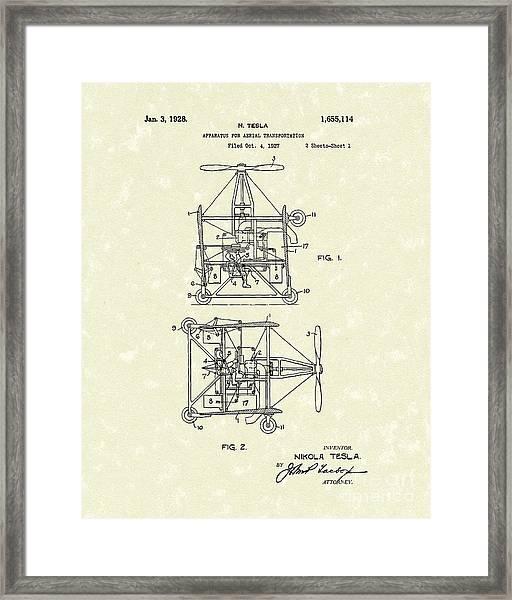 Tesla Aerial Apparatus 1928 Patent Art Framed Print