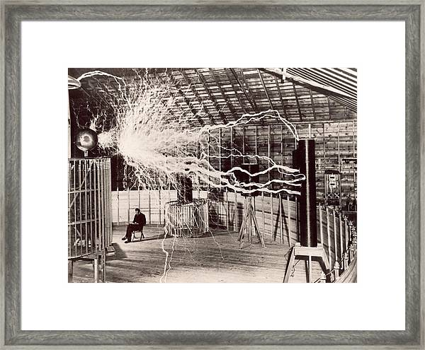 Tesla Coil Experiment Framed Print by Nikola Tesla Museum/science Photo Library